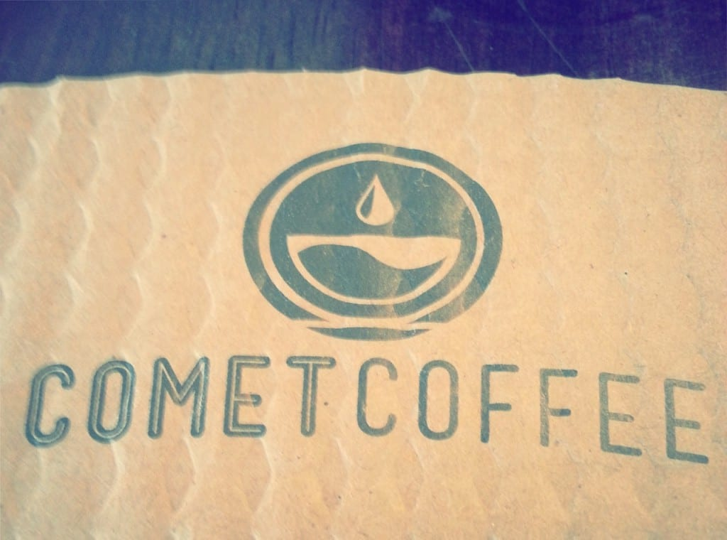 comet coffee logo clutch