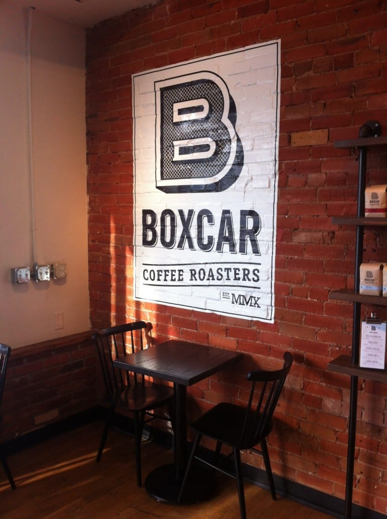 boxcar coffee roasters brick mural